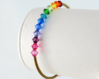 Rainbow Bangle Crystal Bracelet Swarovski Bright Colorful Beads Fun Whimsical Antiqued Brass Jewelry