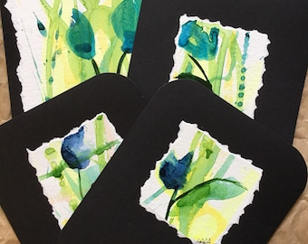 Blue flower abstract original hand painted watercolor greeting card blank inside set of four