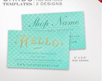 Mermaid Magnet Template - Printable Magnet Design Template - DIY Magnets Printable Business Card Magnet Template Design BCMG AAB