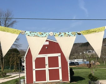 3 ft 8 in pennant banner-off white-floral-blue-green-brown-cream-vintage-buttons-primitive-country-French country-shabby chic-handmade
