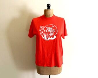 vintage tshirt 1980s womens clothing red elephant nag's head north carolina size large l