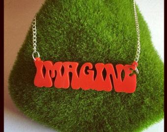 Handmade Imagine Acrylic Word Necklace