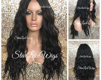 Lace Front Wig - Black - Brown - Long Wavy - Layers - Swiss Lace - Heat Resistant Safe - Middle Part