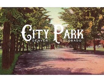 Print: City Park Denver Vintage Poster