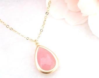 Coral Pink Necklace - Blush Pink  Gold Bridesmaid necklace - Pink - Bridesmaid Jewelry - Gold,  White Gold, Bridesmaid Gift
