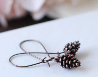 Pine Cone Earrings. Antique Copper Pine Cone Pinecone Earrings. Woodland Nature Inspired Long Kidney Ear Wires Earrings