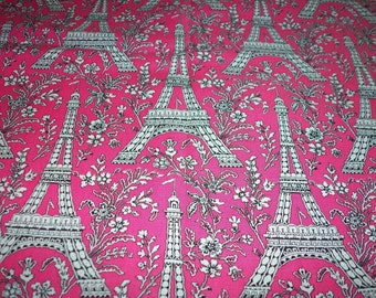 Paris Fabric Eiffel Tower Pink Lots Of Flowers Fat Quarter New BTFQ