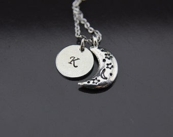 Celestial Necklace, Eclipse Necklace, Moon Necklace, Half Moon Charm, Crescent Moon Charm, Moon Charm, Personalized Necklace, Initial Charm