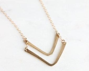 V-shaped Bar Necklace |  Double V Sterling Silver Minimalist Necklace | Hammered Chevron Necklace | Gold Matte Necklace [Chevron Necklace]