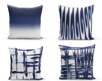 Navy Pillow Covers, Blue White,  Decorative Pillow Covers, Home Decor, Throw Pillow Cover,