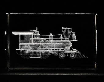 Beautiful Crystal Paperweight with 3D  Locomotive encased inside. Perfect Condition!