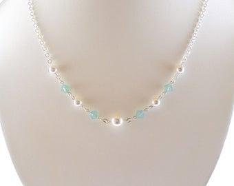 Mint Green Opal Necklace, Mint Green Crystal Necklace, Green Christmas Necklace, Green Crystal Necklace, Opal Necklace Swarovski Crystal