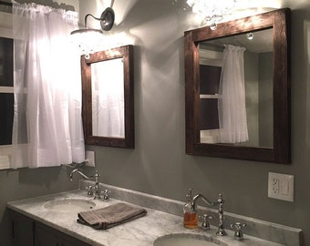 Mirror Set - Double Sink Bathroom  2 Reclaimed Wood Mirrors Size 24 x 28  - Rustic Home Decor