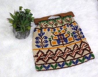 Vintage Wooden Handle Cross Stitch Needlepoint Hippie Boho Purse Tote