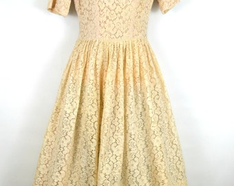 1950s Champagne Lace Overlay Tea Length, Wedding, Party, Prom Dress