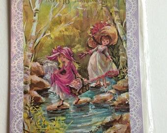 Vintage 18th Birthday Card, Cute Girls Picnic, Unused