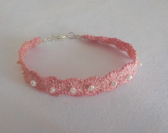 crocheted Bracelet with freshwater pearls
