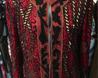 1980' Malvin sequined, beaded evening jacket, shoulder pads. Size M.