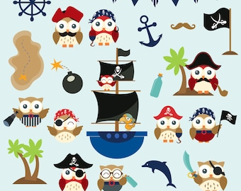 Pirate Owls Clip Art. Owl Elements, Pirate Elements, Pirate ship. Owls Clipart. 21 PNG images. Instant Download.