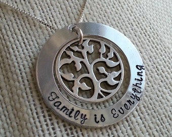 Family is Everything hand stamped necklace