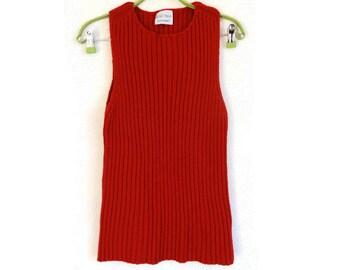 MARIMEKKO Sweater- Vest Merino Wool Vest Red Wool Vest Women's Marimekko Vintage Vest Fashion 90s Marimekko Wool Tank Top Sleeveless Sweater