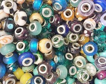 Mixed Lot European Glass Charm Beads 220g (Ap. 100 Beads)