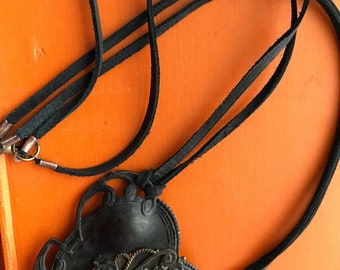 Vintage Brass Dress Buckle Necklace/black leather/repurposed/upcycled