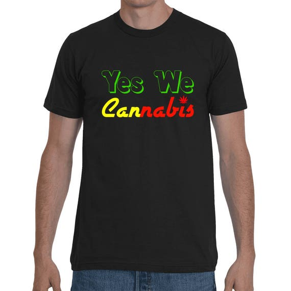 Yes We Cannabis Funny Weed 420 Legalization Marijuana Gift tee Short-Sleeve reggae reefer legal rasta legalize it Unisex Red Yellow Green T-