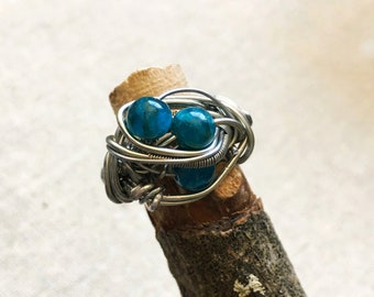 Apatite Ring - Mens Ring - Wire Wrapped Ring - Wire Wrapped Crystal - Engagement Band for Him - Healing Crystal Ring - Mens Statement RIng