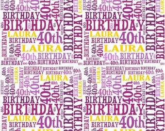 Personalised Wrapping Paper Birthday Wordart With Own Name