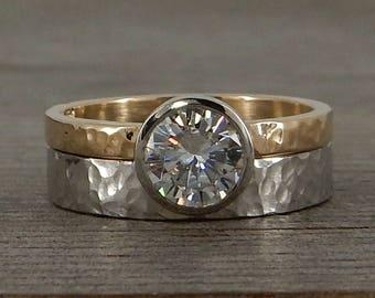 Moissanite Wedding Set - Engagement Ring + Wedding Band - Recycled 14k Yellow Gold + 950 Palladium, Two-Tone, Bezel Set, Hammered