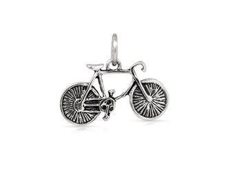 Charm, Bicycle, Sterling Silver, 11.5x19mm - 1pc High Quality (3283)/1