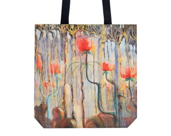 Tote bag Shopping bag Shopping tote Martket bag Handbag Shoulder bag Flower pattern bag Ciurlionis art Canvas tote