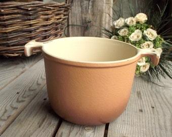 Le Creuset Saucepan - Vintage Fondue Pot - French Cast Iron Pot - Brown Casserole Pot - Enzo Mari - Design Kitchen - French Kitchen