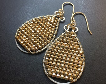 Mixed Metal Handcrafted beaded teardrop Earrings