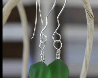 Hand wrapped sterling silver sea green earrings