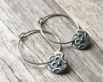Owl Earrings Silver Hoops Silver Owl Hoops Sterling Silver Earrings Sterling Owl Earrings Silver Owl Hoop Earrings Owl Charms Silver Jewelry