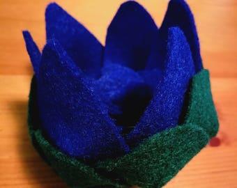 Blue and Green felt lily flower barrette