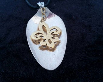 Fleur De Lis, New Orleans, NOLA spoon jewelry, pendant necklace