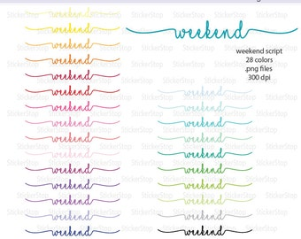 Weekend Script Icon Digital Clipart in Rainbow Colors - Instant download PNG files