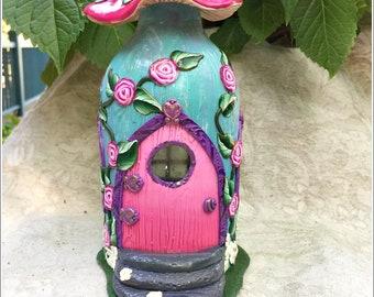Fairy House Pink Roses on Blue Mushroom HDD00672