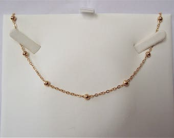 "Gold Plated Beaded Chain Necklace 16""."