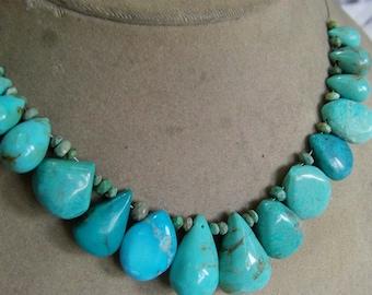 1 Strand Turquoise Arizona USA. natural layout beads. 37, grams. 8X14 , 16X24. MM