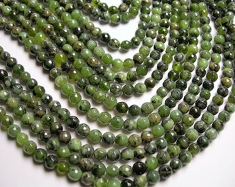 Jade nephrite  - 6mm faceted  round beads -1 full strand - 67 beads - Dendritic Jade  - RFG1109