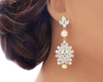 Statement wedding earrings, bridal chandelier earrings, long drop earrings, crystal earrings, CZ earrings, bridal jewelry, wedding jewelry