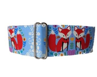 Fox Martingale Dog Collar, 2 Inch Martingale Collar, Fox Dog Collar, Blue Dog Collar, Martingale Collar Greyhound, Martingale Dog Collar