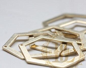 6 Pieces / Raw Brass / Honey Comb / Pendant (C3861//V225)