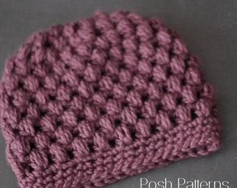 Crochet PATTERN - Puff Stitch Crochet Messy Bun Hat Pattern - Crochet Hat Pattern - Ponytail Hat - Toddler, Child, Adult Sizes -  PDF 441