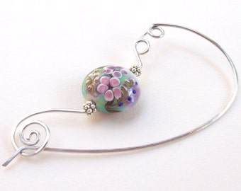 SALE Flower Shawl Pin, Silver Shawl Pin, silver scarf pin, lampwork, floral, sweater pin, garden, aluminum, wire, spring, hammered