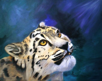 Baby Snow Leopard Original 16x20 Oil Painting